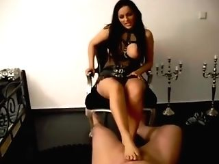 German Mistress Milks Fuck Toy With Her Feet