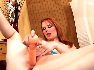 Pallid Ginger-haired Stunner Fannie Masturbating With Faux-cock