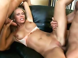 Sexy Blonde Vivien Can Treat Two Youthful Studs Like A Pro