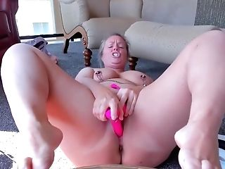 Curvy Mummy With Pinned Nips Playthings And Cums Hard