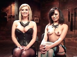 Brutish Mistress Wearing Strap On Dildo And Corset Fucks Tied Up Asian Hooker Annie Cruz