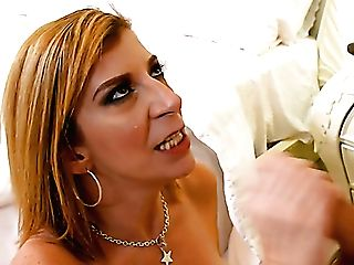 Lusty Us Housewife Sara Jay Lures The Cleaner To Suck His Delicious Pink Cigar
