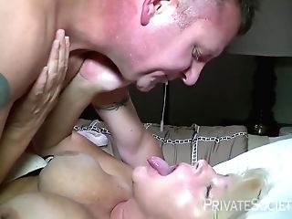 Raunchy And Horny Blonde Granny Is Getting Fucked Hard From The Back By A Milky Penis