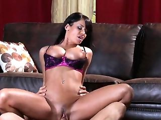 Hot Brown-haired Savannah Stern Is Hotly Fucking With Her Beau Tommy Gunn In Sexy Brassiere And Providing Him Tit Job.