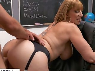 Brilliantly Shaped Huge-boobed Tutor Sara Jay Entices One Of The Students
