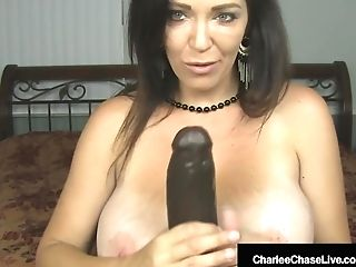 Buxomy Cougar Charlee Chase Slams Snatch With Big Black Fake Penis!