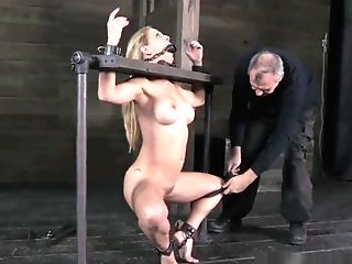 Restrained Cougar Mouthgaped And Pussytoyed