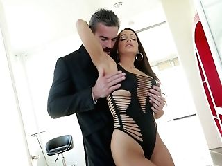Elder Dude Fucks Graceful Chick With Fleshy Bra-stuffers Abigail Mac And Cums In Her Opened Mouth