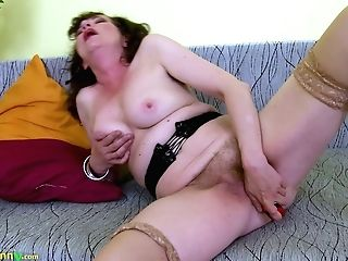 Old Housewife Hana Is Pleasing Her Supah Hairy Holey Out Muff